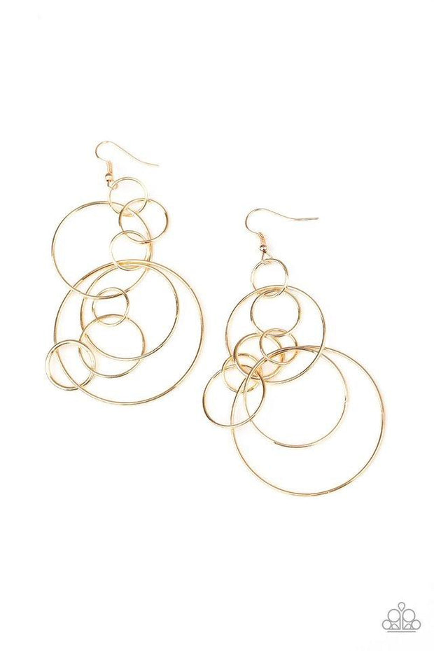 Paparazzi Earring ~ Running Circles Around You - Gold
