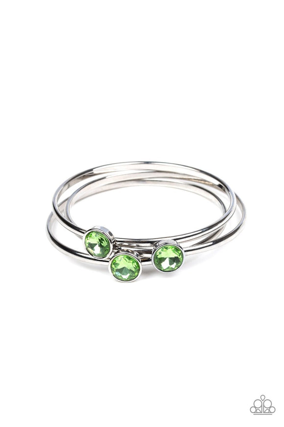 Paparazzi Be All You Can BEDAZZLE - Green Gems - Silver Bangle Bracelets