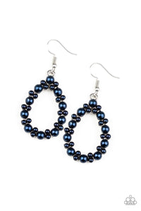 Paparazzi Pearl Spectacular - Blue Pearls - Silver Teardrop - Earrings