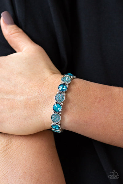 Paparazzi Take A Moment To Reflect - Blue Rhinestone Bracelet - Glitzygals5dollarbling Paparazzi Boutique