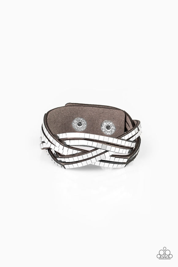 Paparazzi Looking For Trouble - Gray Silver - Suede Wrap / Snap Bracelet