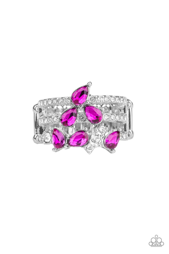 Paparazzi Blink Back TIERS - Pink Teardrop Gems - White Rhinestones - Ring