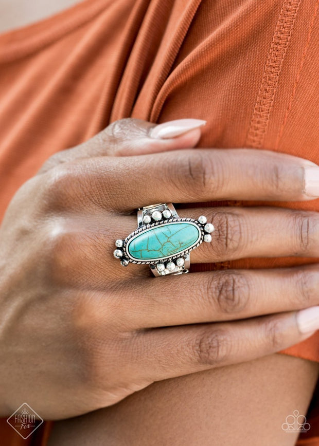 Paparazzi Pioneer Paradise - Blue - Ring - Trend Blend / Fashion Fix Exclusive - October 2020 - Glitzygals5dollarbling Paparazzi Boutique