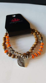 Paparazzi Wonderfully Woodland Orange Double Stretch Band Bracelet - Glitzygals5dollarbling Paparazzi Boutique