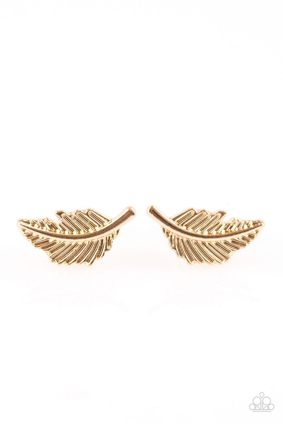 Paparazzi Flying Feathers Gold Post Earrings