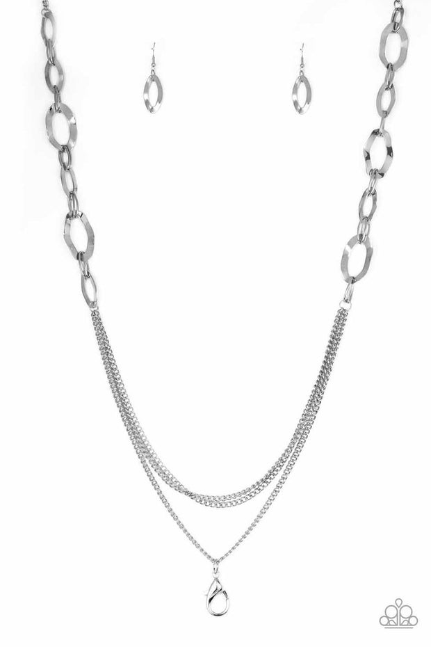 Paparazzi Street Beat Lanyard Necklace Silver - Glitzygals5dollarbling Paparazzi Boutique