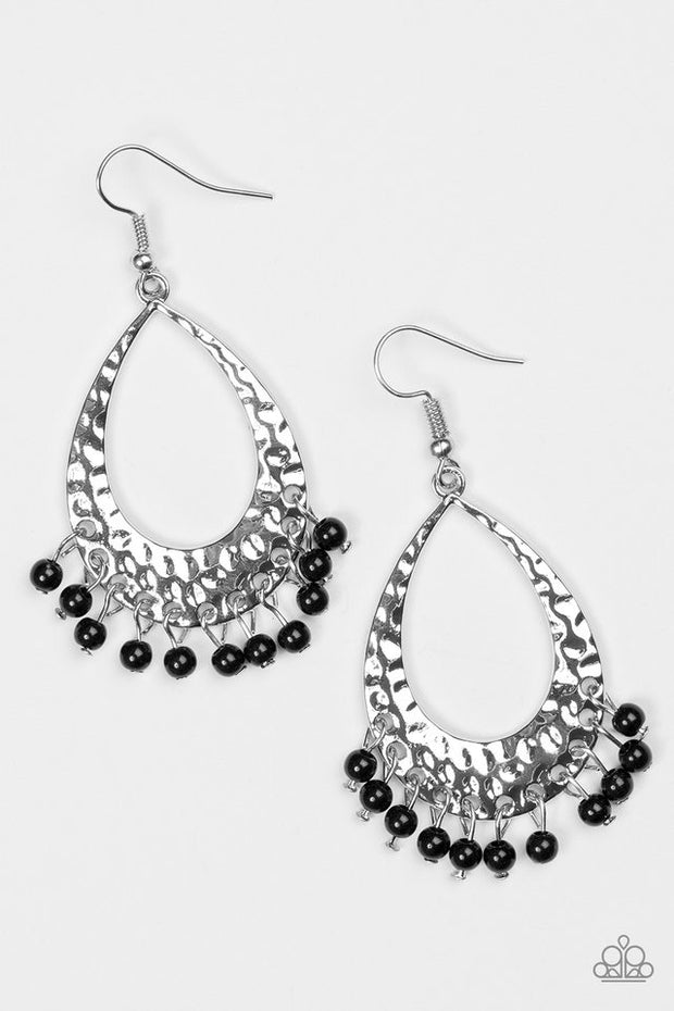"Paparazzi ""Casually Cancun"" Black Silver Earrings - Glitzygals5dollarbling Paparazzi Boutique"