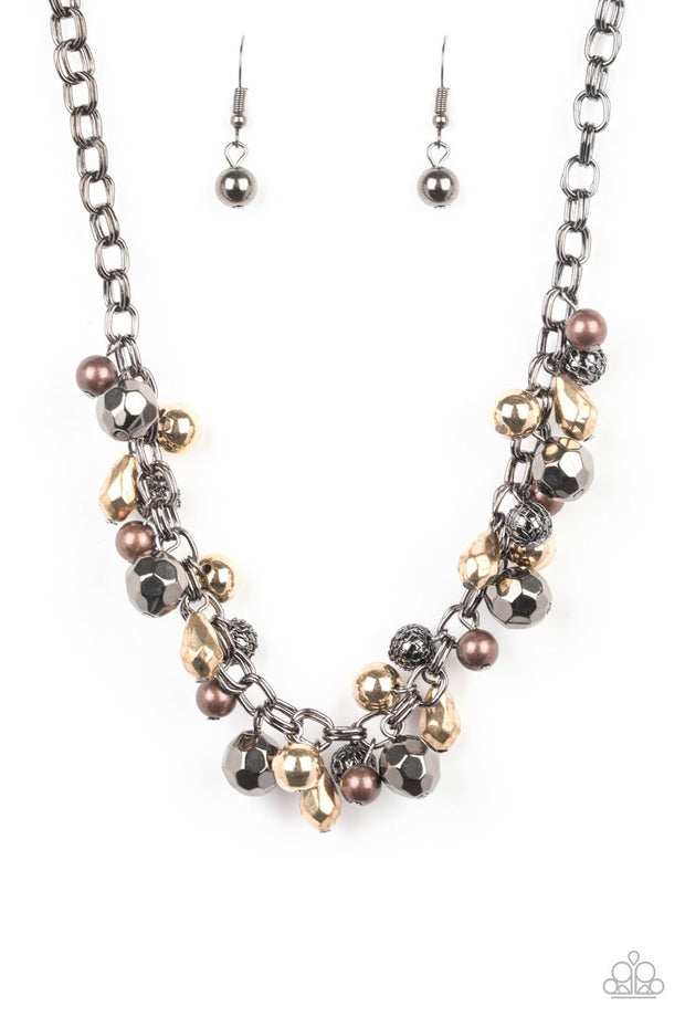 Paparazzi Building My Brand - Black - Faceted Copper, Gold, Gunmetal Beads - Necklace & Earrings