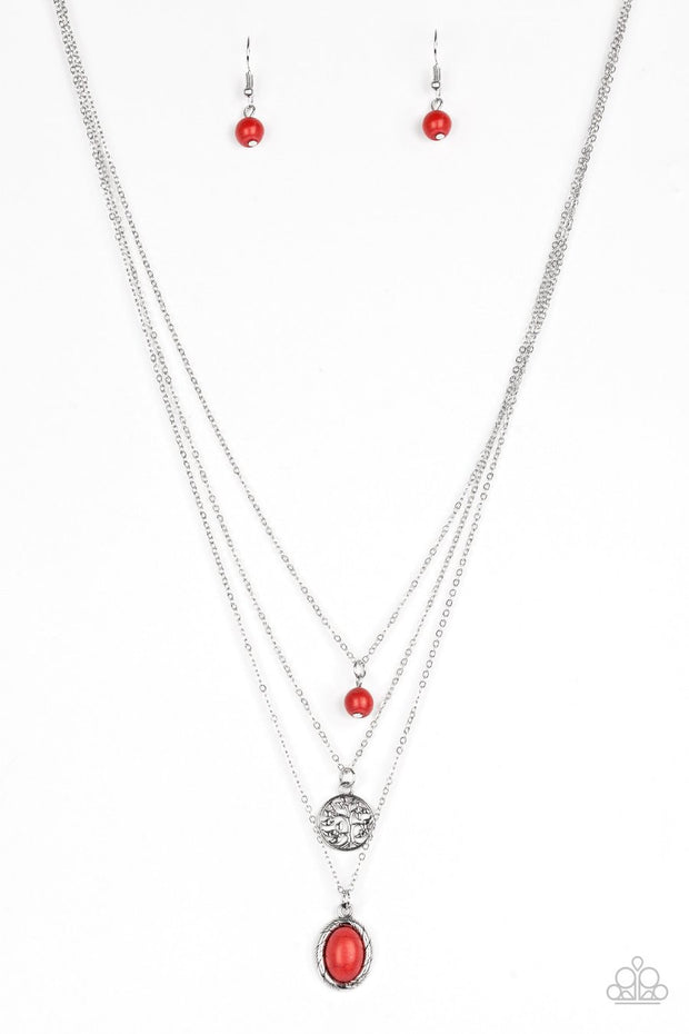 Southern Roots - red - Paparazzi necklace - Glitzygals5dollarbling Paparazzi Boutique