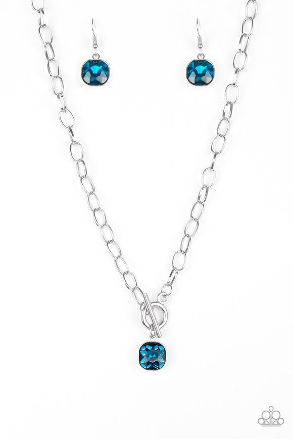 Paparazzi Dynamite Dazzle - Blue Gem - Toggle Closure Necklace and matching Earrings