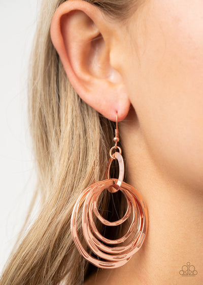 Ringing Radiance - copper - Paparazzi earrings - Glitzygals5dollarbling Paparazzi Boutique