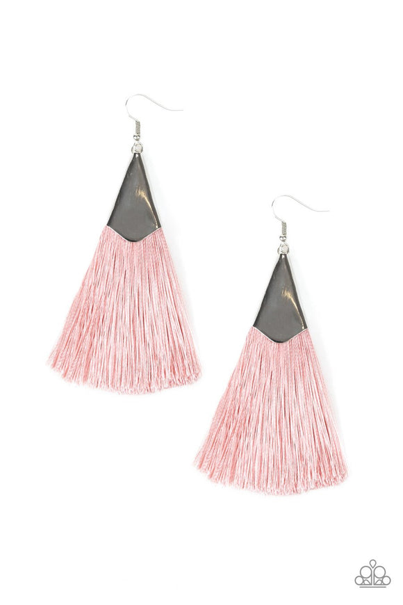 Paparazzi In Full PLUME - Pink - Thread / Fringe / Tassel - Silver Earrings
