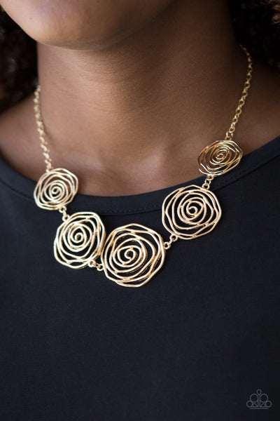 Paparazzi Rosy Rosette - Gold Necklace - Glitzygals5dollarbling Paparazzi Boutique