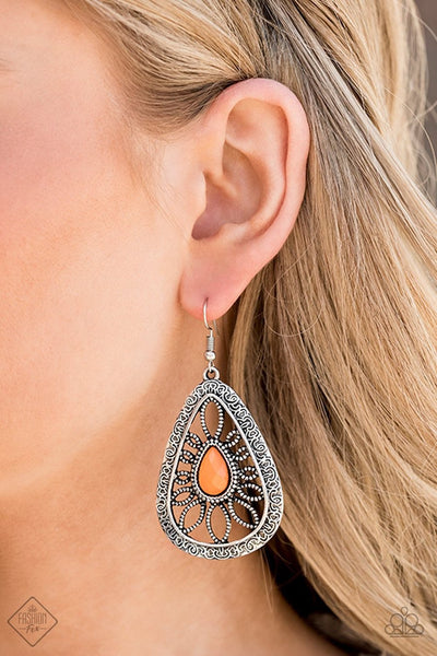 Floral Frill - orange - Paparazzi earrings - Glitzygals5dollarbling Paparazzi Boutique