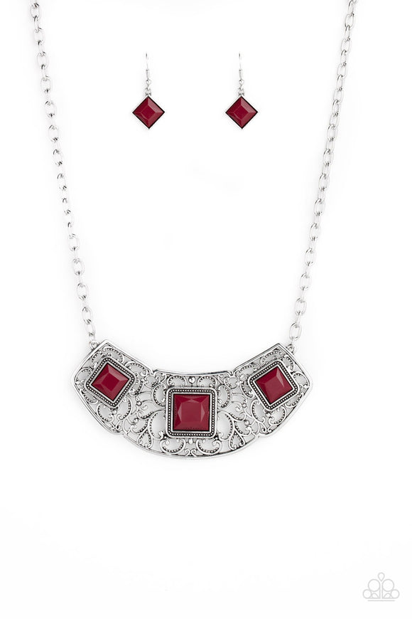 Paparazzi Feeling Inde-PENDANT - Red Beads - Silver Filigree - Necklace and matching Earrings