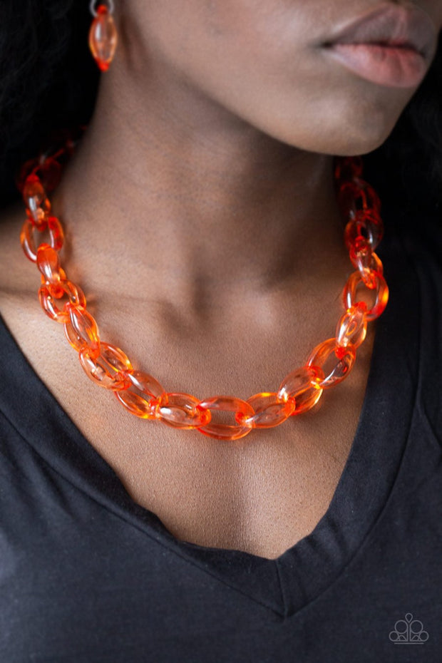 Paparazzi Ice Queen - Orange Acrylic - Necklace and matching Earrings - Glitzygals5dollarbling Paparazzi Boutique