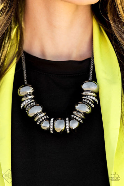 Paparazzi Only The Brave - Black Gunmetal Fashion Fix Exclusive Necklace May 2020 - Glitzygals5dollarbling Paparazzi Boutique