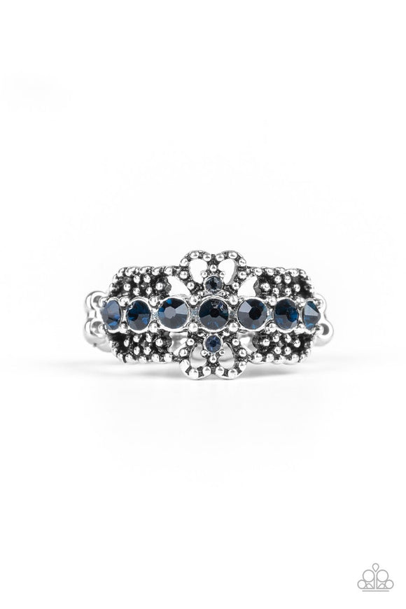 Paparazzi GLOW Your Mind - Blue Rhinestones - Silver Filigree - Ring