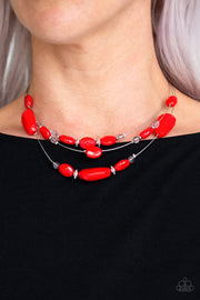 Paparazzi Radiant Reflections - Red Necklace - Glitzygals5dollarbling Paparazzi Boutique