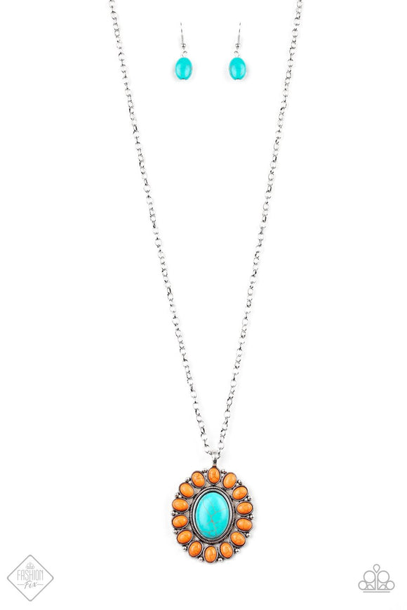 Paparazzi Rancho Roamer - Orange / Turquoise Stone Necklace - Trend Blend Fashion Fix Exclusive June 2019