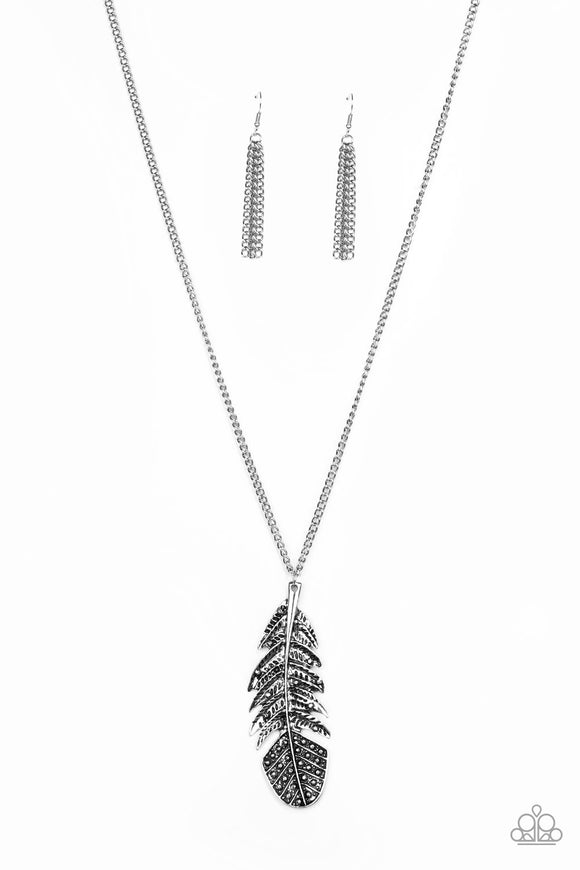 Paparazzi Free Bird Silver Feather Necklace