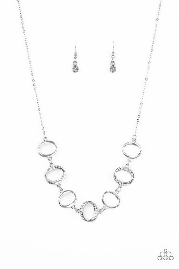 Paparazzi Inner Beauty - White Rhinestones - Silver Hoop Necklace and matching Earrings