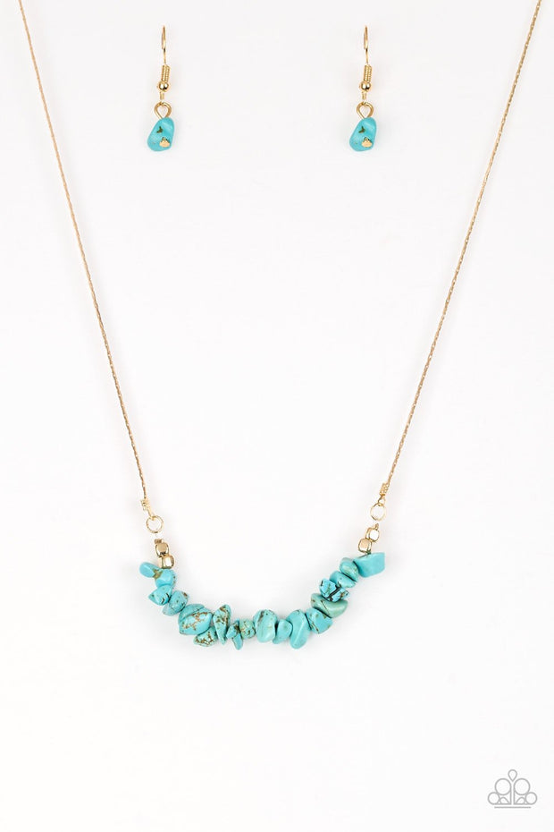 Paparazzi Back to Nature Turquoise Blue Gold Necklace - Glitzygals5dollarbling Paparazzi Boutique