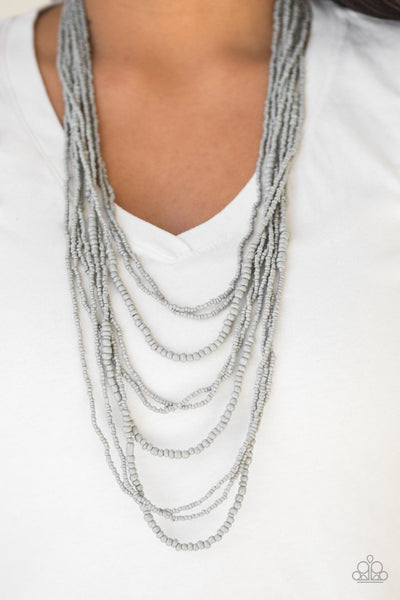 Paparazzi Totally Tonga - Silver Gray Seed Beads - Necklace and matching Earrings - Glitzygals5dollarbling Paparazzi Boutique