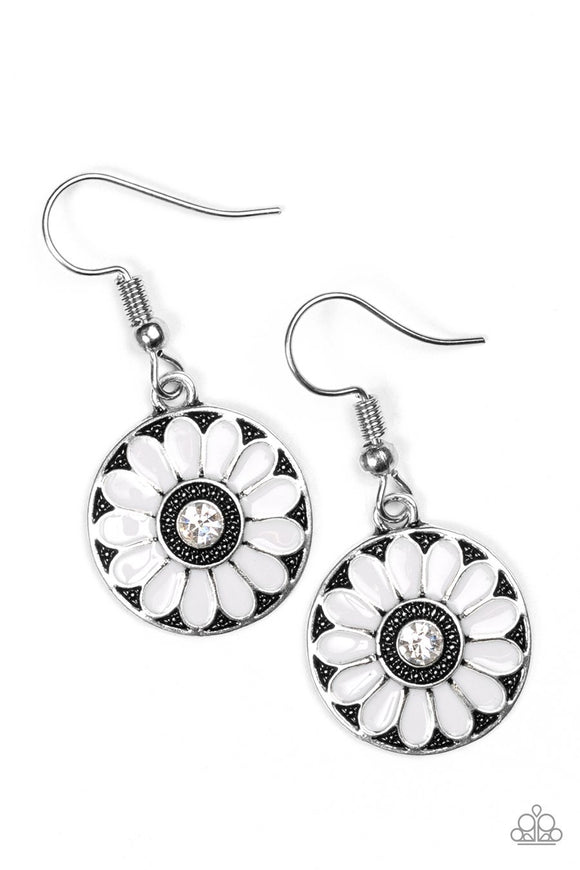 Paparazzi Lily Luau Silver White Flower Earrings