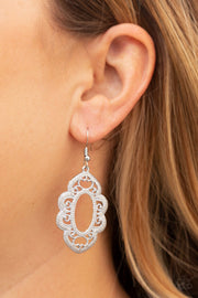 "Paparazzi ""Mantras and Mandalas"" White Earrings - Glitzygals5dollarbling Paparazzi Boutique"