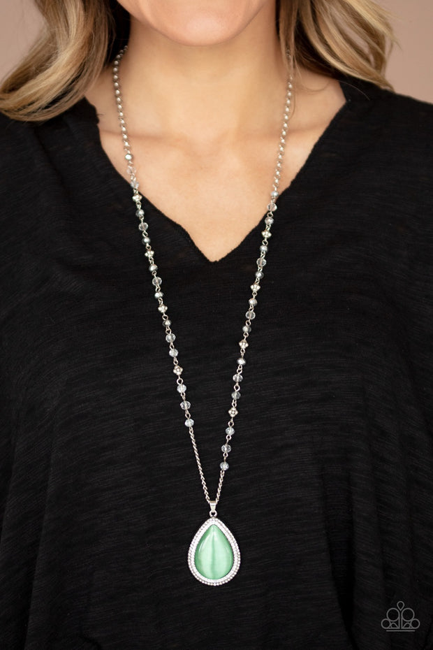 PREORDER Paparazzi Fashion Flaunt - Green Cats Eye Necklace Life of the Party Exclusive