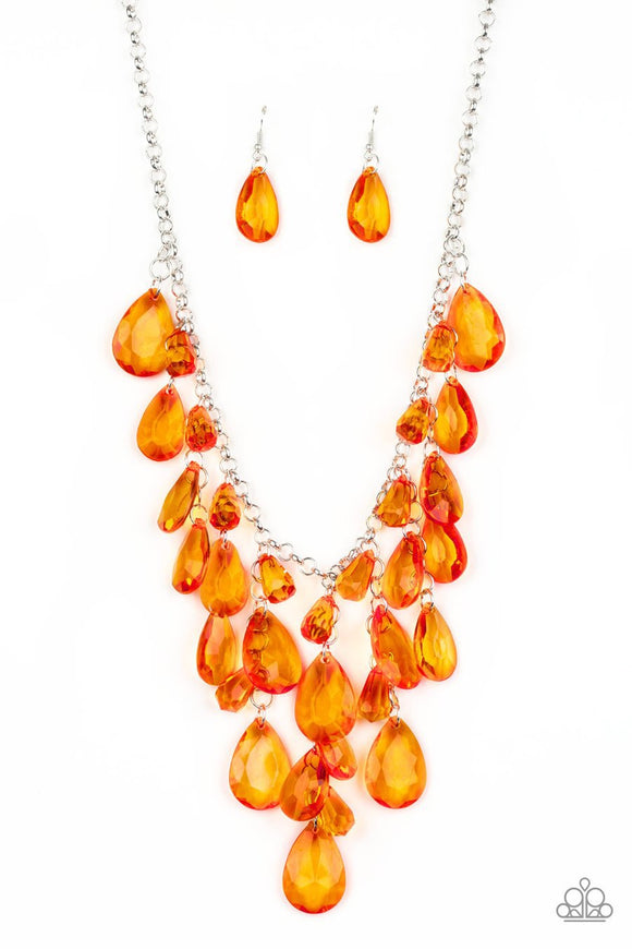 Paparazzi Irresistible Iridescence - Orange - Glassy Teardrops - Silver Chain Necklace and matching Earrings
