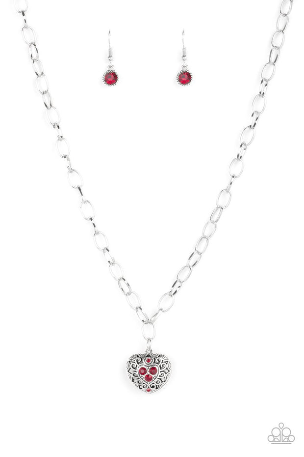 Paparazzi No Love Lost - Red Rhinestones - Silver Locket Heart - Necklace & Earrings - Glitzygals5dollarbling Paparazzi Boutique