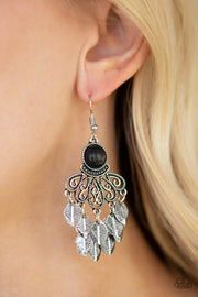 Paparazzi A Bit On The Wildside - Black stone - Silver Leaves Cascade from Bottom - Earrings - Glitzygals5dollarbling Paparazzi Boutique