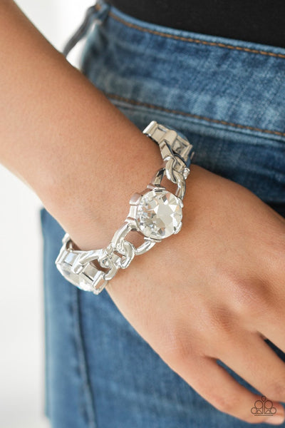 Paparazzi Accessories - Light Up The Room - White Bracelet - Glitzygals5dollarbling Paparazzi Boutique