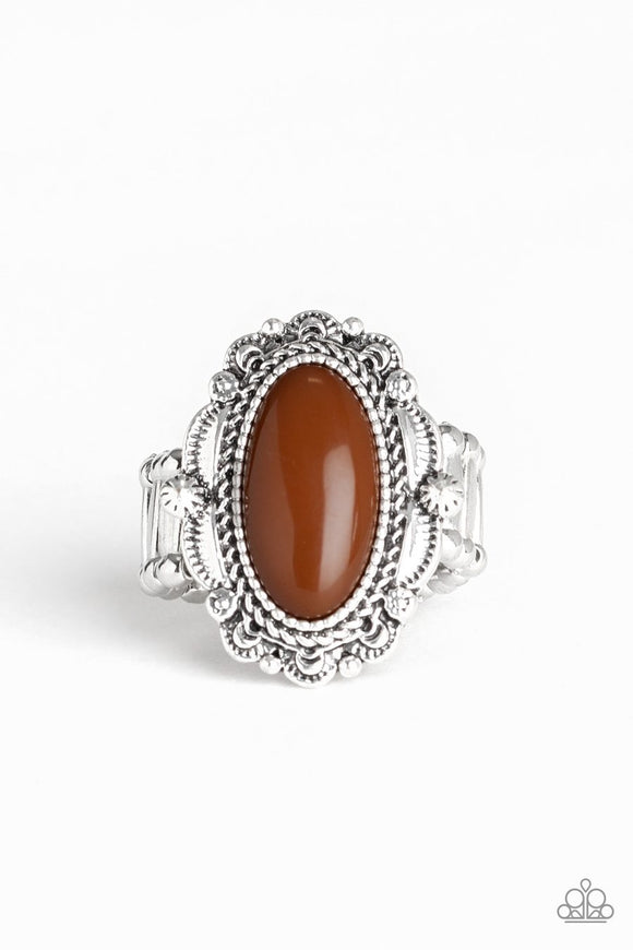 Paparazzi Malibu Majestic - Brown Oval Bead - Ornately Scalloped Silver - Ring