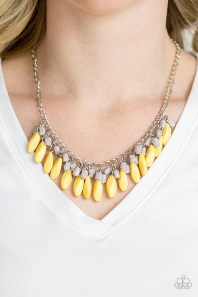 Paparazzi Bead Binge - Yellow Beads - Silver Chain Necklace & Earrings
