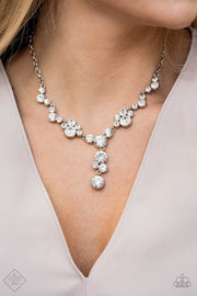 Paparazzi Inner Light - White - Rhinestones - Glamorous Necklace & Earrings - Fashion Fix Exclusive February 2020 - Glitzygals5dollarbling Paparazzi Boutique