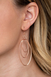 Paparazzi All OVAL The Place - Copper - Trio of Shiny Oval Frames - Earrings