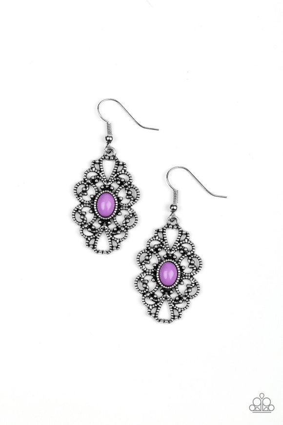 Paparazzi Over The POP - Purple Bead - Silver Earrings