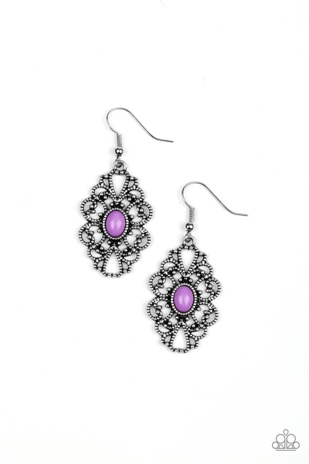 Paparazzi Over The POP - Purple Bead - Silver Earrings - Glitzygals5dollarbling Paparazzi Boutique