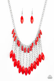 Paparazzi Venturous Vibes - Red - Faceted Beads - Shimmery Silver Chain Necklace & Earrings - Glitzygals5dollarbling Paparazzi Boutique