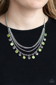 Paparazzi Beach Flavor - Green - Shell Like Beads - Necklace & Earrings