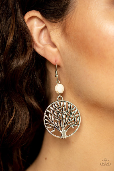 Paparazzi Bountiful Branches - White Tree of Life Earrings - Glitzygals5dollarbling Paparazzi Boutique