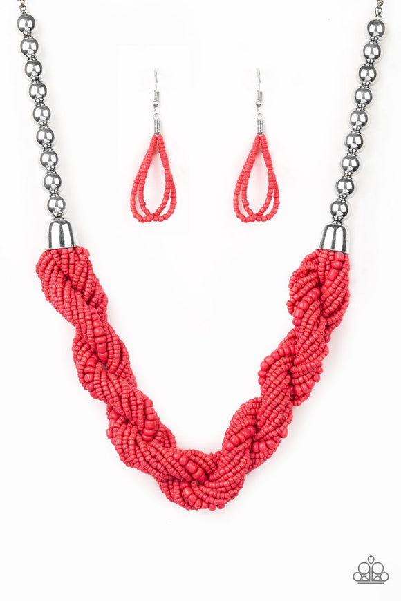 Paparazzi Savannah Surfin' Orange Coral Necklace