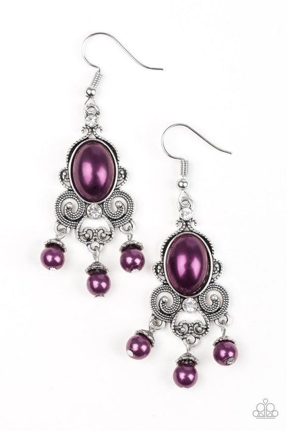 Paparazzi I Better Get GLOWING - Purple Pearly Beads - White Rhinestones - Earrings