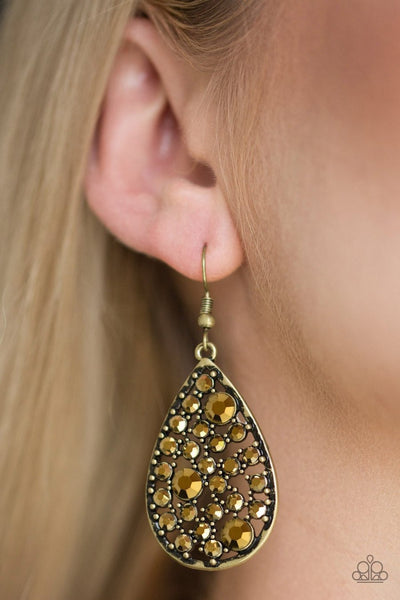 GLOW with the Flow - brass - Paparazzi earrings - Glitzygals5dollarbling Paparazzi Boutique