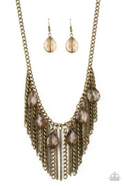 Vixen Conviction - brass - Paparazzi necklace - Glitzygals5dollarbling Paparazzi Boutique