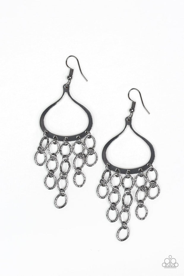 Paparazzi Total Net Revenue - Black Hammered Gunmetal - Chandelier Earrings - Glitzygals5dollarbling Paparazzi Boutique