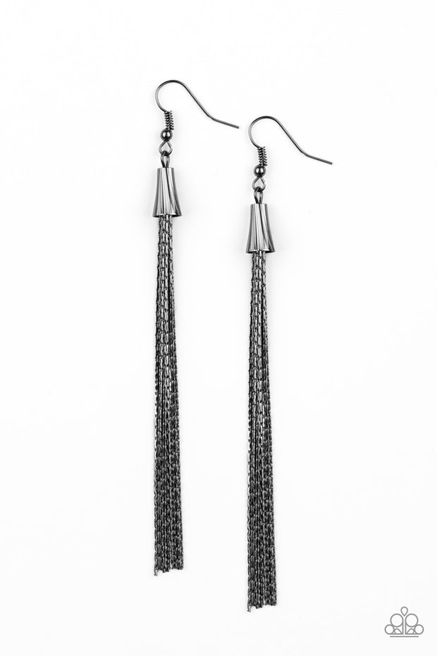 PREORDER Paparazzi Shimmery Streamers - Black Gunmetal Life of the Party Exclusive Earrings